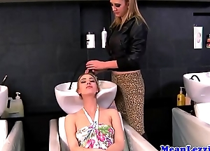 Busty lezdom hairdresser transgressed out at the end of one's tether beauty