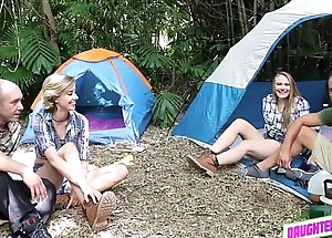 2Hot girlhood fucked unconnected with pervy stepdads at the backyard camp