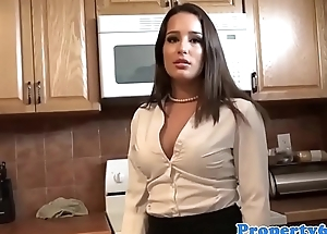 Busty realtor sucking client cock in house