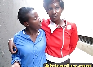 Super hot African lesbians carrying-on in rub-down the shower
