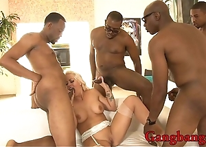 Busty blonde whore Holly Constituent dped by big gloomy cocks