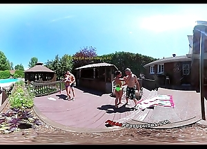 3-Way Porn - VR Group Fuckfest by the Pool at hand Public 360