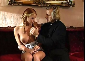 Young blonde lolita punished and fucked by scold priest