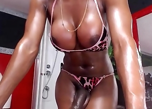 Insanely Hot Black Shemale Hither a Huge Dick