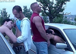 Real PUBLIC sex orgy with a very pregnant comprehensive through the cars windows
