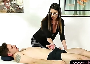 Busty masseuse Dava Foxx gets drilled on massage table