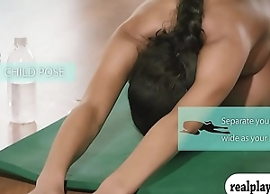 Amateur gals coupled with the trainer doing yoga while all naked