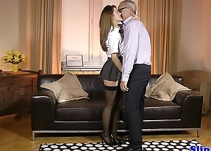 Classy schoolgirl nailed by british geriatric