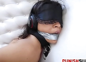 Nonconforming slut Maya Bijou get new experience with sensory deprivation fuck
