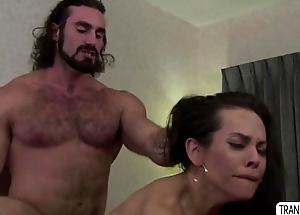 TS Foxxy in a blow one's own horn anal sex