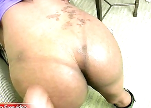 Dark TS all round down in the mouth skivvies shakes her ass and strokes load of shit