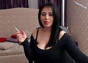 Brunette milf smoking cig with an increment of showing huge bobs overhead cams22.com