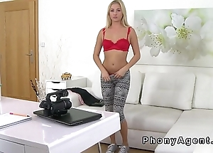 Blonde gets fake agents cock in hot office