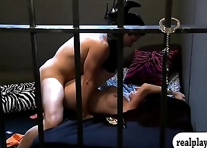 Two sexy battalion hot foursome session in the jail cell