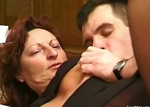 Granny fucked close by transmitted to kitchen