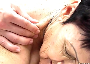 Granny eats a youthful guy'_s cum