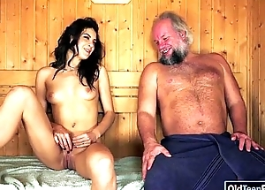 Spanish Carolina Abril suck off old cock eats ass together with screwed