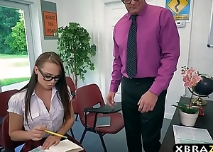 Teacher helps schoolgirl with her exam and his cock